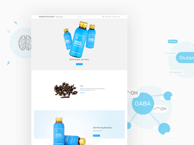 Morning Recovery illustration hangover blue photography responsive product website web packaging drink