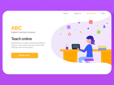 Sign up Page for English Teaching Company web vector ui illustration signup page firstshot dailyui 001