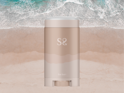 Sand. For Her design graphic design sand sweat summer beach bodycare fashion brand cosmetics cosmetic brand design branding logo deodorant