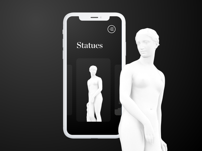 Smithsonian App Statues Screen 2020 trends george washington greek us presidents covid19 coronavirus 3d ui 3d mobile ui brutalist brutalism abstract madewithxd interaction design blackandwhite statues statue black dark theme smithsonian