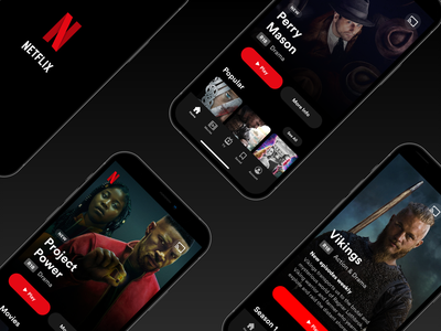 Netflix UI Redesign Concept mobile ui redesign ott video on demand dark theme mobile app apple mobile spotify video app video netflix