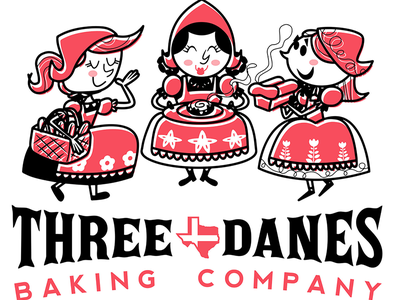 Three Danes Baking Company Logo (Final set) logo bakery digital whimsical