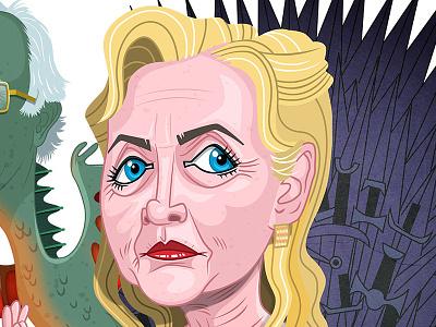 Hillary Clinton and Bernie Sanders: Game of Thrones (in color) bernie sanders hillary clinton politics humor illustration joe rocco caricature