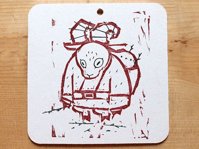 Krampus Christmas Ornament letterpress