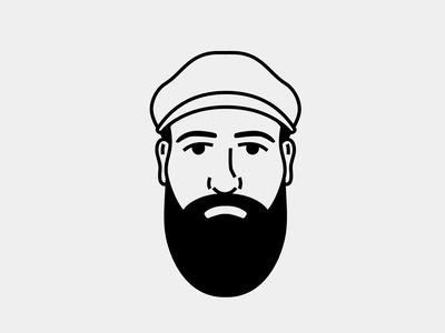 Bearded Avatar hipster monoline illustration avatar beard