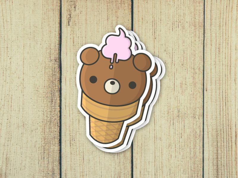 Ice Cream Bear Sticker Mockup chibi kawaii bear ice cream illustration stickermule stickers