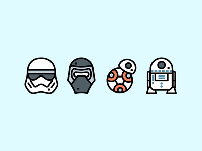 Star Wars Icons stormtrooper kylo ren bb8 r2d2 icons star wars