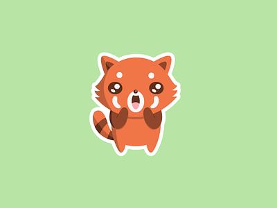 Cute Red Panda Surprise Magnet character design magnet kawaii cute illustration red panda