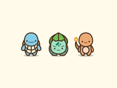 Pokemon Starters Illustration icons video games cute kawaii illustration charmander bulbasaur squirtle starter pokemon pokemon