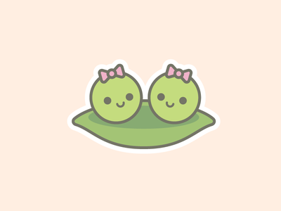 Peas in a Pod Twins Illustration