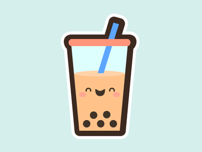 Cute Boba Milk Tea cute kawaii illustration icon drink milk tea bubble tea boba