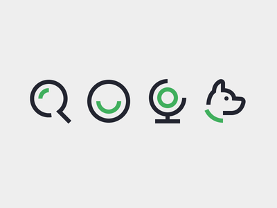SEO Icons Pt. 2 dog profile magnifying glass line icon puppy dog globe smiley search icon
