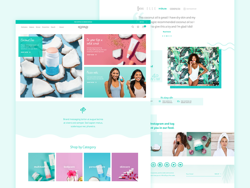 Kopari Homepage Refresh ux homepage ecommerce beauty website ui