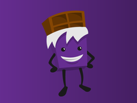 A happy chocolate bar character