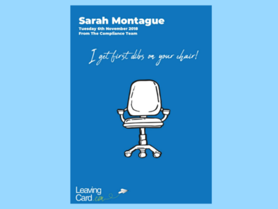 Office Chair Card for TogetherCards.com graphic design graphic illustrator adobe illustrator togethercards celebration fonts layout digital art drawing leaving birthday office-chair chair office card-design design illustration
