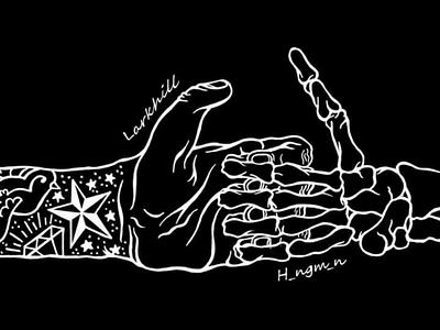 Larkhill - I Declare A Thumbwar Split w/ H_ngm_n adobe illustrator cc illustrator graphic design graphic adobe illustrator design illustration digital music monochrome black  white hands skeleton art record vinyl drawing bands band thumb war