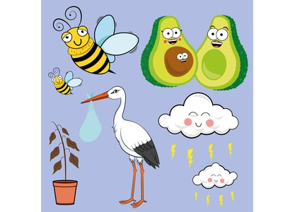 Characters for LeavingCard.com bumble bees stork avocados illustrator card-design adobe illustrator graphic design art graphic drawing digital design illustration