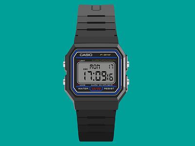 Casio F91W-1 Watch (Recreated in Adobe Illustrator) casio f91w-1 f91w-1 casio watch watch casio illustrator adobe illustrator graphic design art graphic drawing design illustration digital