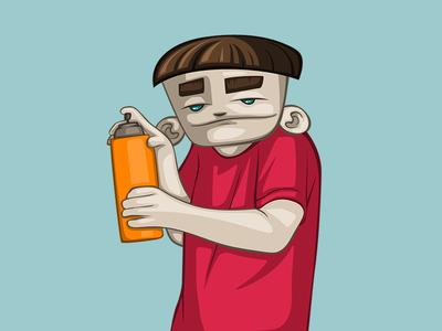 Street artist character design illustration 2d