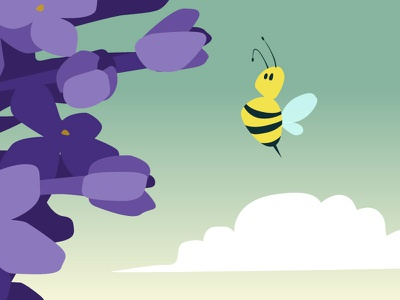 Apple trees protection flower bee animal 2d vector illustration
