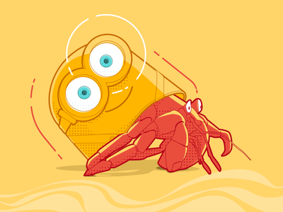 Plastic Ocean - Minion Crab character design animal illustration 2d