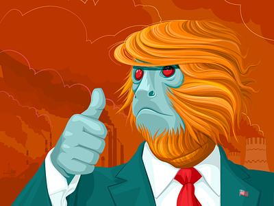 The Monkey. trump ecology environment illustration 2d