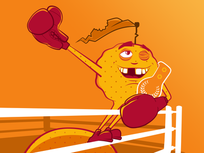 Juice fruit character advertising vector 2d illustration