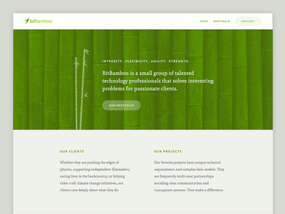 Bit Bamboo website bit bamboo web green portfolio contact team about website page one
