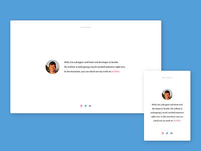 Simple Portfolio Page circle white social icons avatar clean whitespace simple minimal portfolio