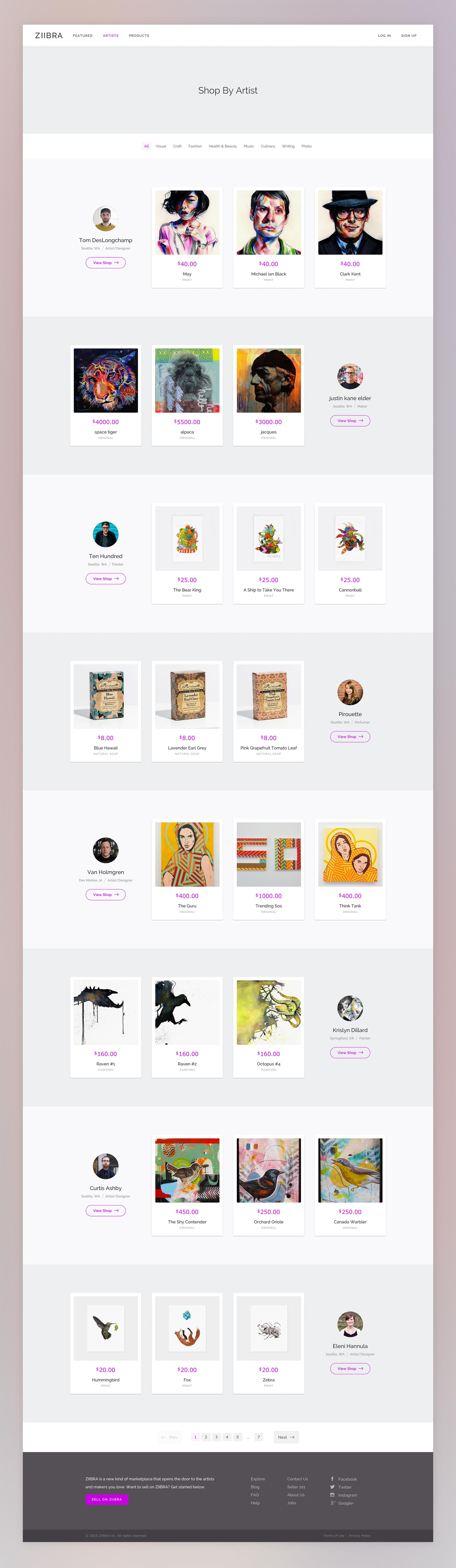 Shop by artist