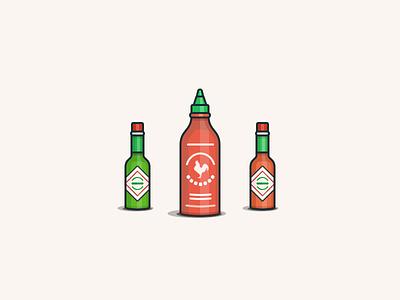 Hot Sauces spicy illustration hot sauce tabasco sriracha