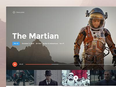 Trailers web app star wars martian mpaa matt damon web ui trailers movies