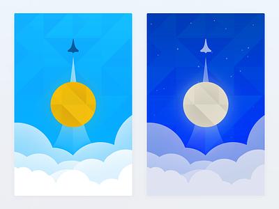 Rocketships sky nasa pattern triangles moon sun night day smoke clouds rockets rocketship