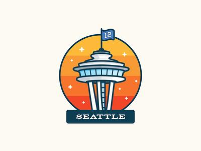 Seattle Space Needle flag wave sky 12th man 12 flag flag spaceneedle stars illustration seattle space needle