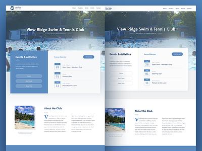 Swim & Tennis Club website preview website landing web ui country club club tennis swim homepage
