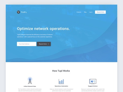 Optimize network operations - UI data tower chart bar automation operations network blue landing page homepage