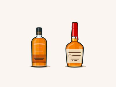 Bourbons - Bulleit & Makers woodford knob creek rye alcohol icons illustration makers bulleit bourbon