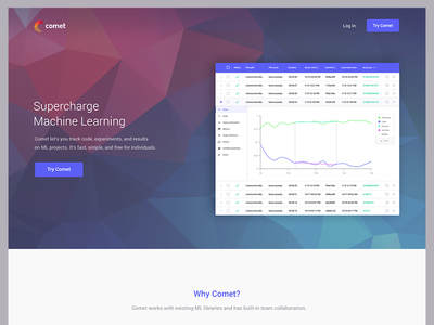 Comet - Homepage machine learning space blue cta comet ai ml poly home homepage