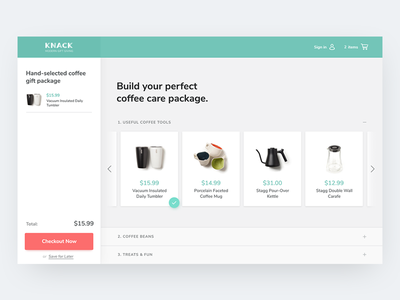 Gift Builder minimize expand accordion scroll care package coffee checkout shop cart ui gifts