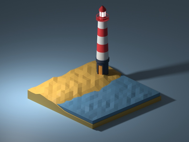 Lonely lighthouse on a sandy beach vector clean blender3dart blender 3d lowpolyart low-poly lowpoly flat blender3d blender