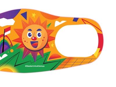 stay safe, use mask yellow happy hope sun illustrator design indonesia vector icon illustration