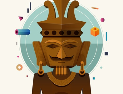 NIAS culture wood statue editorial illustrator design icon indonesia vector illustration