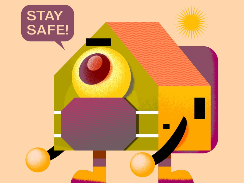 Stay Safe texture character affinitydesigner mask workfromhome wfh design digital icon vector illustration