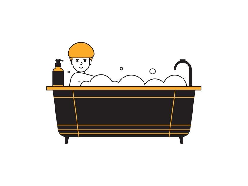 shower soap bath shower people editorial design digital indonesia icon vector illustration