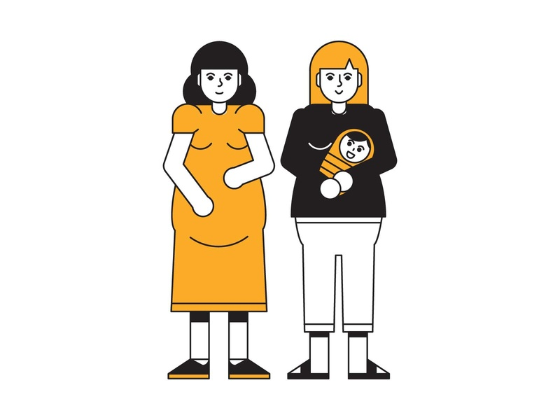 mothers branding editorial yellow black minimal mother indonesia icon vector illustration
