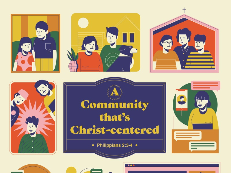 Community in Christ editorial christian church people family community digital icon vector illustration