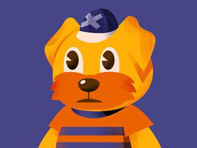 momoji blue simple children icon hat terrier yorkie friday character illustration dog