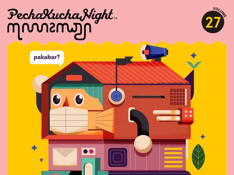 Pechakucha Jogja vol.27 home pechakucha covid texture affinitydesigner editorial illustrator indonesia vector illustration