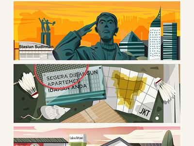 Jakarta sport editorial local movie poster jakarta digital indonesia vector illustration