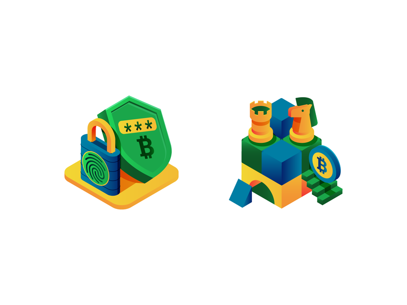 safe and sound blue yellow green build chess shield lock money bitcoin digital icon vector illustration